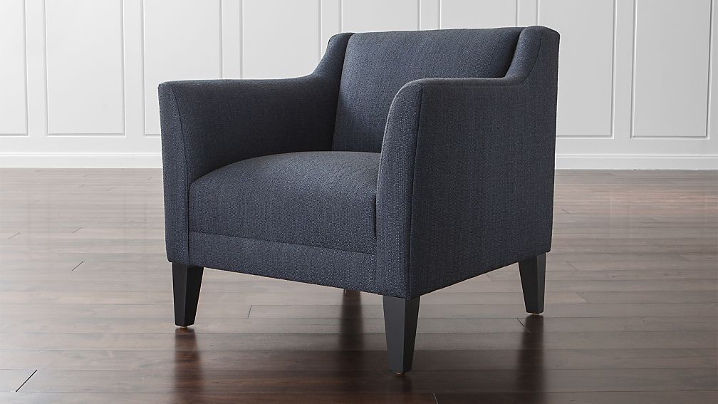 Margot navy blue living room chair crate and barrel Crate and barrel living room chairs