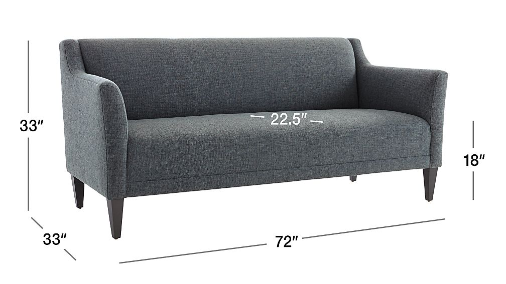 Image with dimension for Margot II Tight Back Sofa