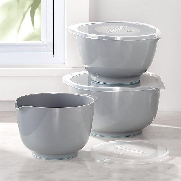 Rosti Grey Melamine Mixing Bowls with Lids, Set of 3