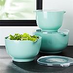 Rosti Retro Green Melamine Mixing Bowls with Lids Set