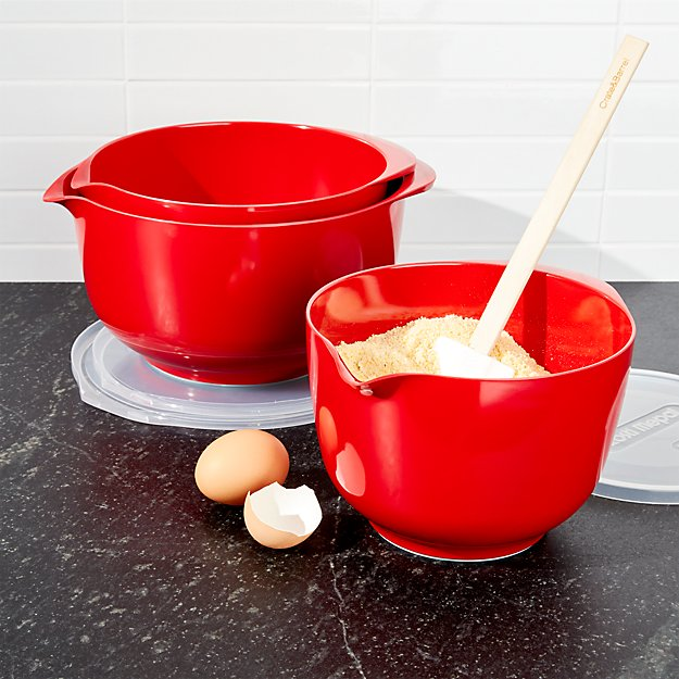Rosti Luna Red Melamine Mixing Bowls with Lids Set