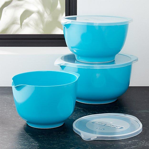 Rosti Latin Blue Melamine Mixing Bowls with Lids Set