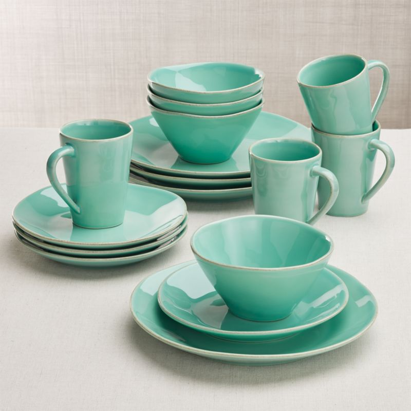 Marin Blue 16-Piece Dinnerware Set in Dinnerware Collections + Reviews | Crate and Barrel & Marin Blue 16-Piece Dinnerware Set in Dinnerware Collections + ...