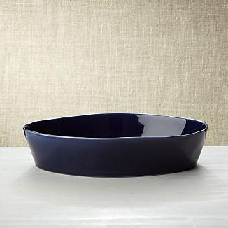 """Marin Dark Blue Oval 10""""x13.75"""" Baking Dish"""