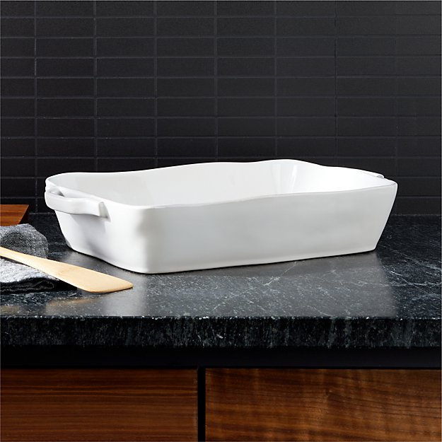 """Marin 13.5""""x10"""" White Large Baker with Handles - Image 1 of 2"""