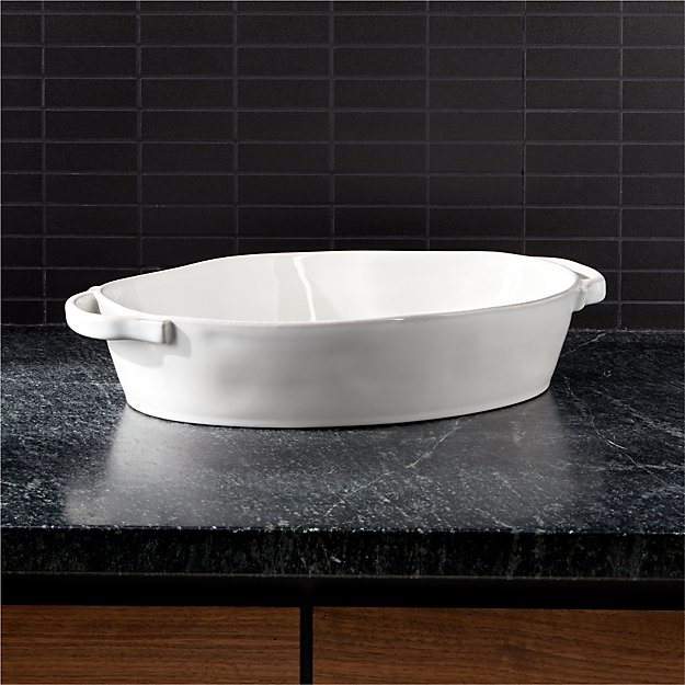 "Marin 10""x13.75"" White Oval Baker with Handles - Image 1 of 2"