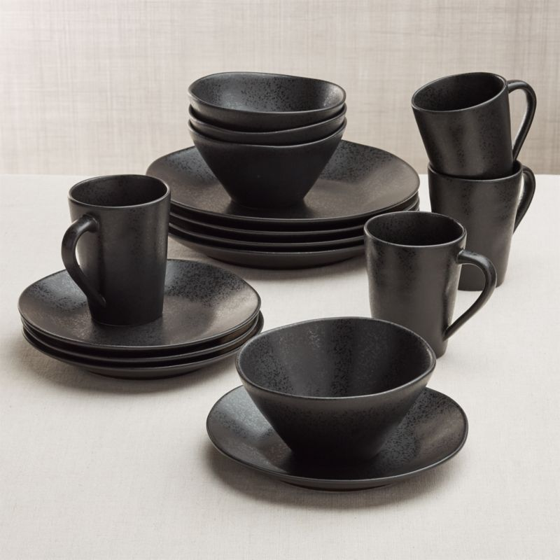 Marin 16 Piece Matte Black Dinnerware Set Reviews Crate And Barrel