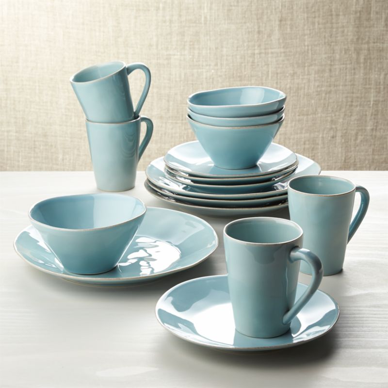 Marin Blue 16 Piece Dinnerware Set Reviews Crate And