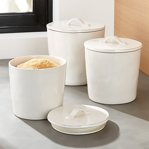 Marin white ceramic kitchen canisters crate and barrel - White ceramic canisters for the kitchen ...