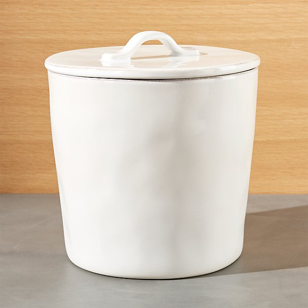 Marin large white ceramic kitchen canister crate and barrel - White ceramic canisters for the kitchen ...