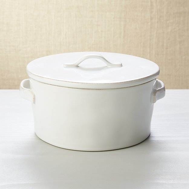 Marin White Covered Casserole 2Qt - Image 1 of 5