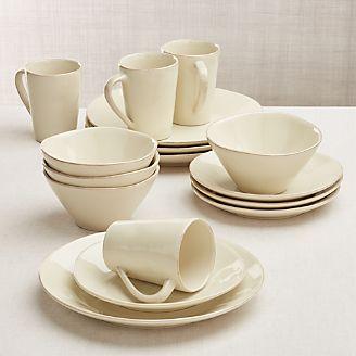 Marin 16-Piece Cream Dinnerware Set & Dinnerware Sets: Stoneware Bone China u0026 Porcelain   Crate and Barrel