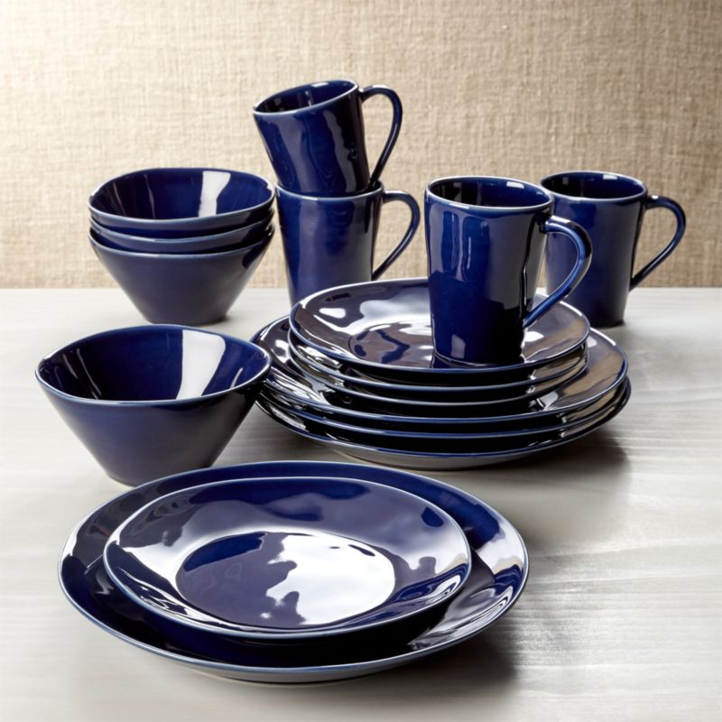 Marin Dark Blue 16 Piece Place Setting Reviews Crate