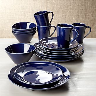 Marin Dark Blue 16-Piece Place Setting & Portugal Dinnerware | Crate and Barrel