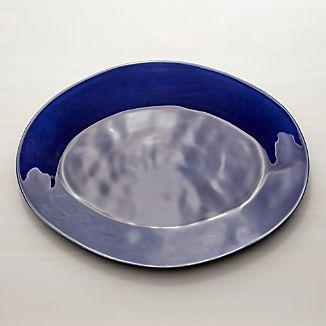 """Marin Dark Blue 20"""" Oval Platter"""