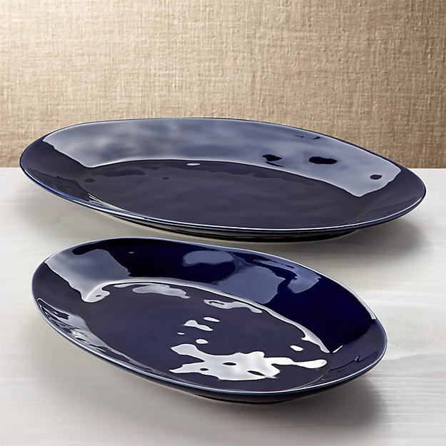 Marin Dark Blue Oval Platters