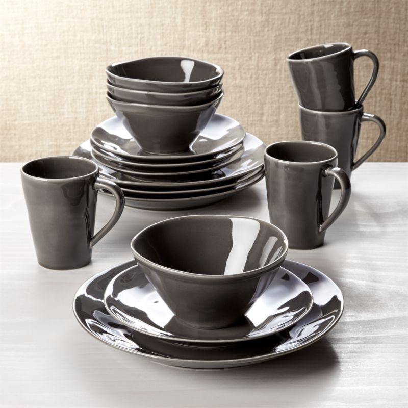 Marin Dark Grey 16 Piece Place Setting Reviews Crate