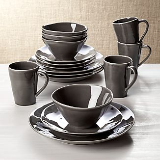 Marin Dark Grey 16-Piece Place Setting & Dinner Plate Sets | Crate and Barrel