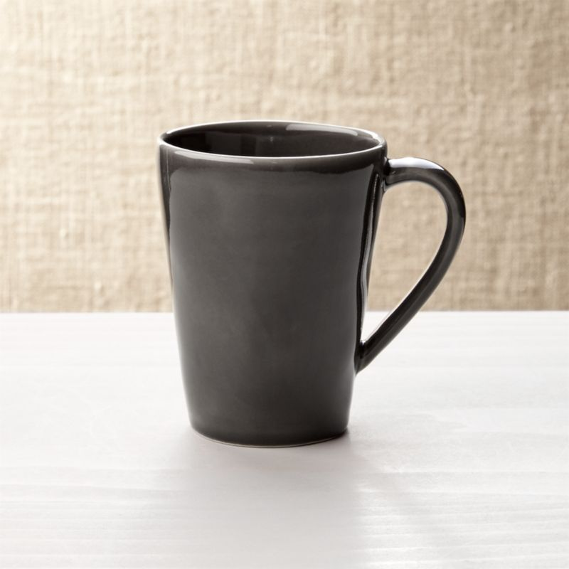 Dark Grey Stoneware Coffe Mug Reviews Crate And Barrel