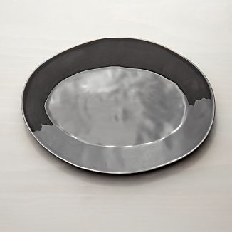 "Marin Dark Grey 15.75"" Oval Platter"