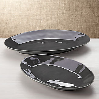 Marin Dark Grey Oval Platters