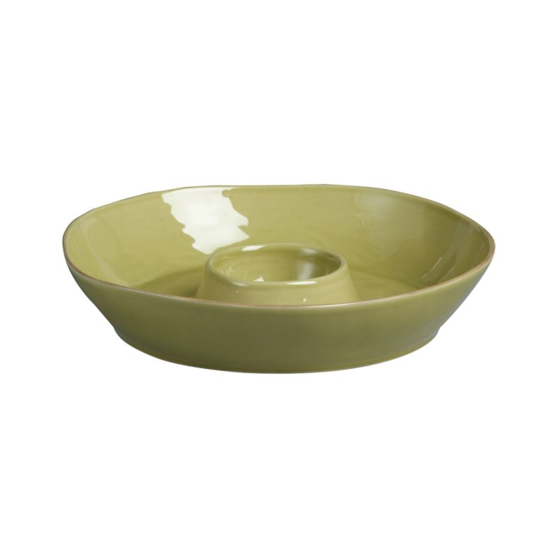 Artisanal ceramic chip and dip is glazed a soft green with subtle hand-antiquing on the freeform rims. Marin green dinnerware also available.<br /><br /><strong>Please note:</strong> The Marin Green Chip and Dip will be discontinued in January 2013. When our current inventory is sold out, it is unlikely we will be able to obtain more.<br /><br /><NEWTAG/><ul><li>Stoneware</li><li>Dishwasher-, microwave- and oven-safe to 300 degrees</li></ul>