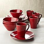 Marin Red 16-Piece Dinnerware Set