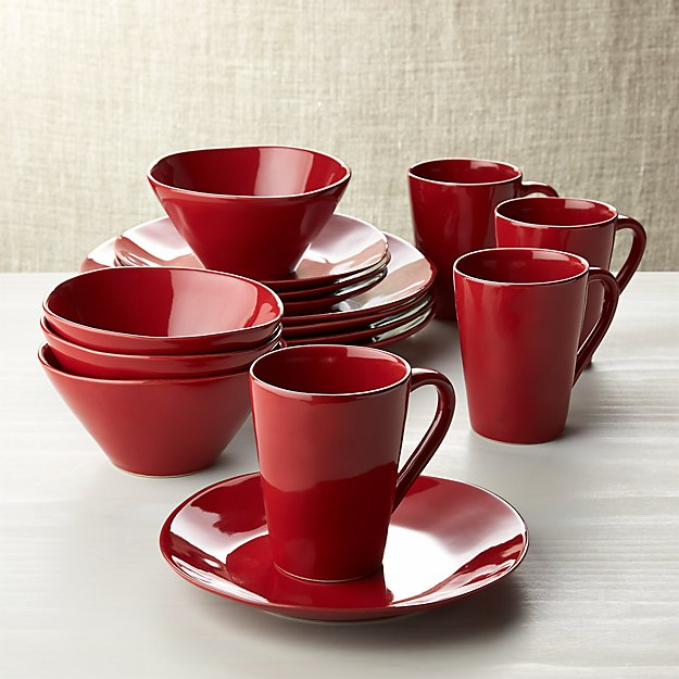 Marin Red 16 Piece Dinnerware Set Crate And Barrel