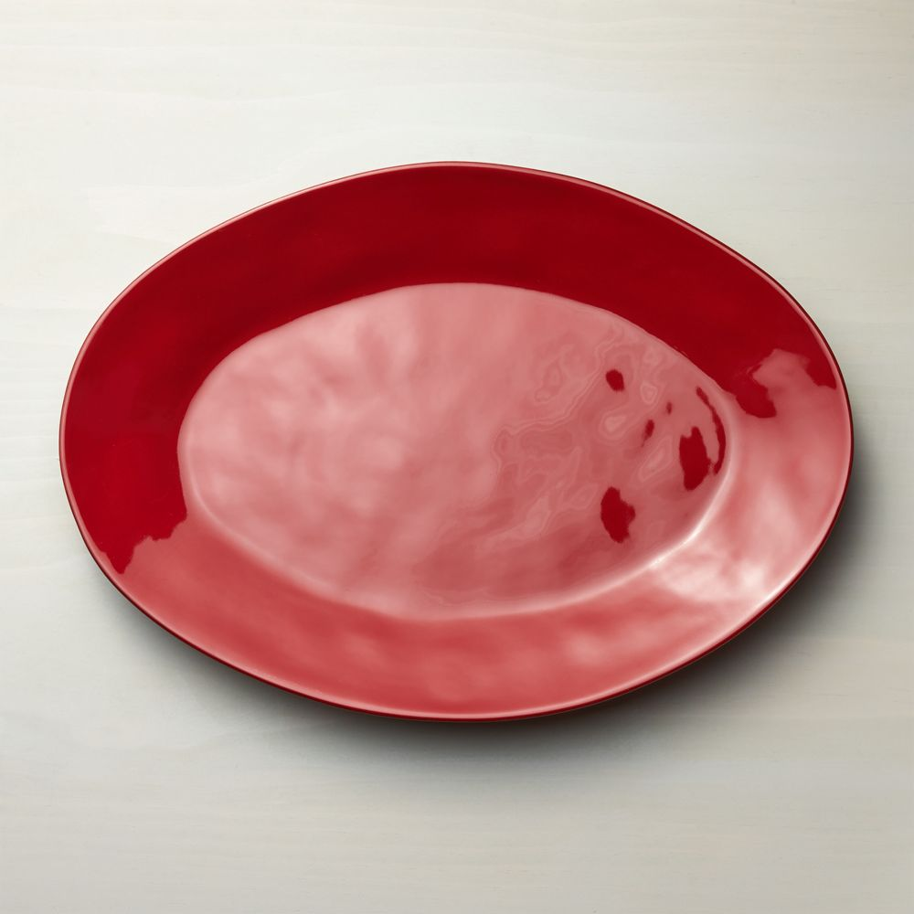 Marin Red Large Oval Platter - Crate and Barrel