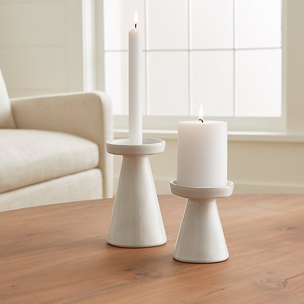 Marin White Taper/Pillar Candle Holders - Image 1 of 10