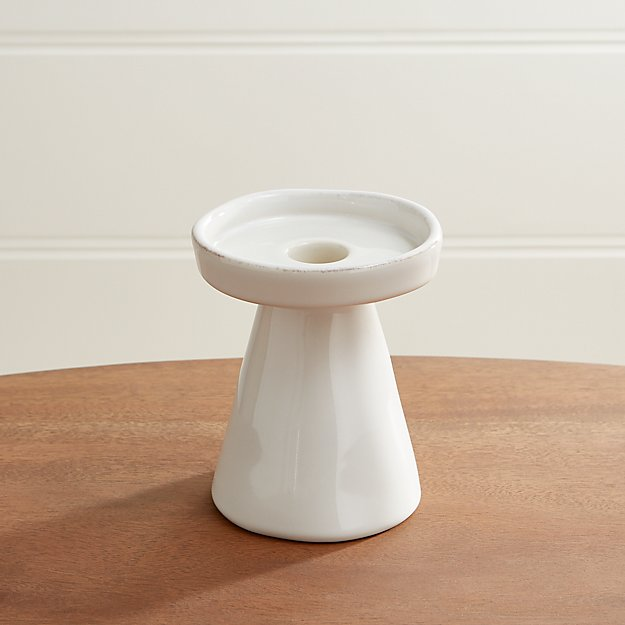 Marin White Small Taper Pillar Candle Holder Crate And