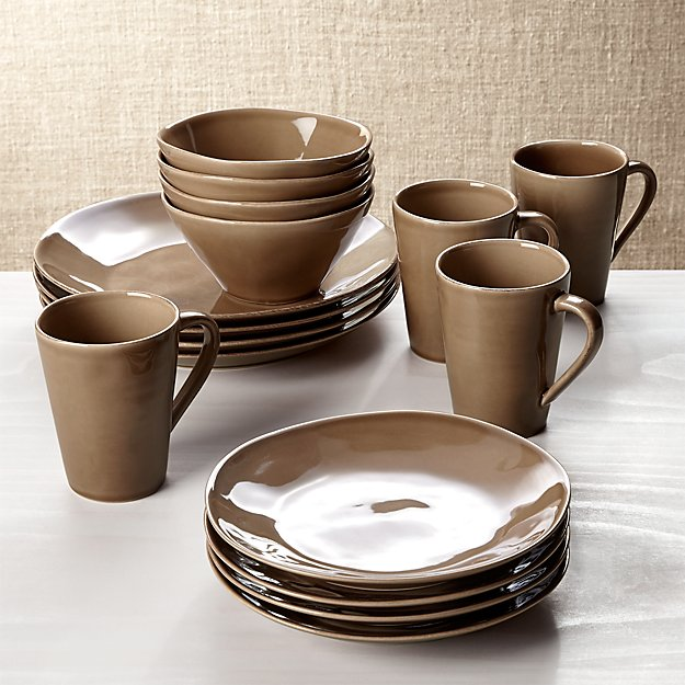 Marin Taupe 16-Piece Place Setting