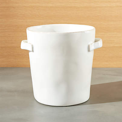 View testMarin White Utensil Holder with Handles