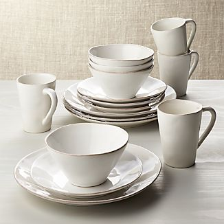 Marin White 16-Piece Dinnerware Set & White Dinnerware | Crate and Barrel