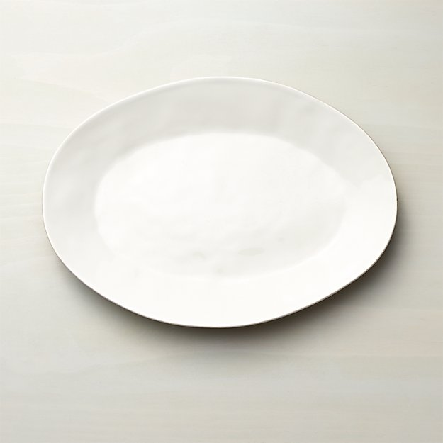 Marin White Small Oval Serving Platter - Image 1 of 9