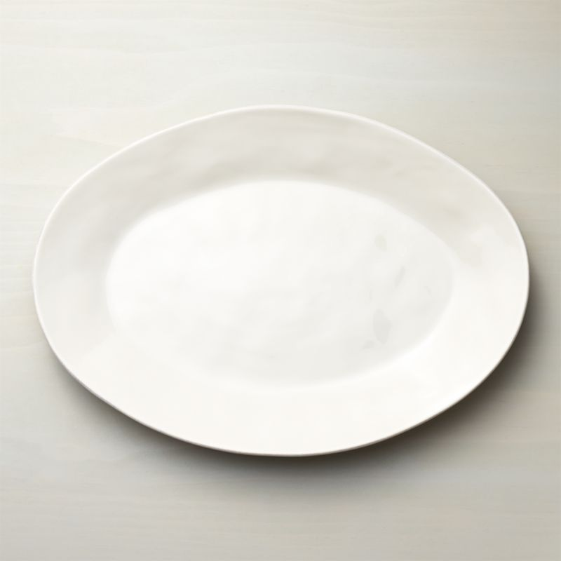 Marin White Large Oval Serving Platter Reviews Crate