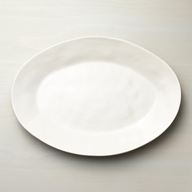 Marin White Large Oval Serving Platter - Image 1 of 9