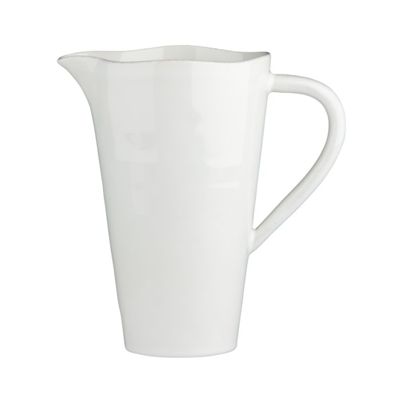 Artisanal ceramic shapes are glazed a soft white with subtle hand-antiquing on the freeform rims.<br /><br /><strong>Please note:</strong> The Marin White Pitcher-Vase is discontinued. When our current inventory is sold out, it is unlikely we will be able to obtain more.<br /><br /><NEWTAG/><ul><li>Stoneware</li><li>Dishwasher-, microwave- and oven-safe to 300 degrees</li><li>Made in Portugal</li></ul><br />