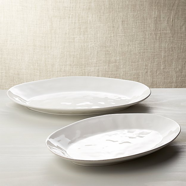 Marin White Serving Platters Crate And Barrel