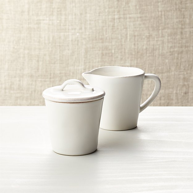 Marin White Sugar Bowl with Lid and Creamer - Image 1 of 2