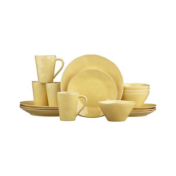 Marin Yellow 16-Piece Dinnerware Set