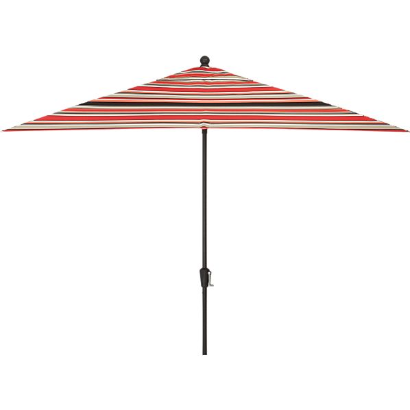 Rectangular Sunbrella ® Red Multi Stripe Umbrella with Black Frame
