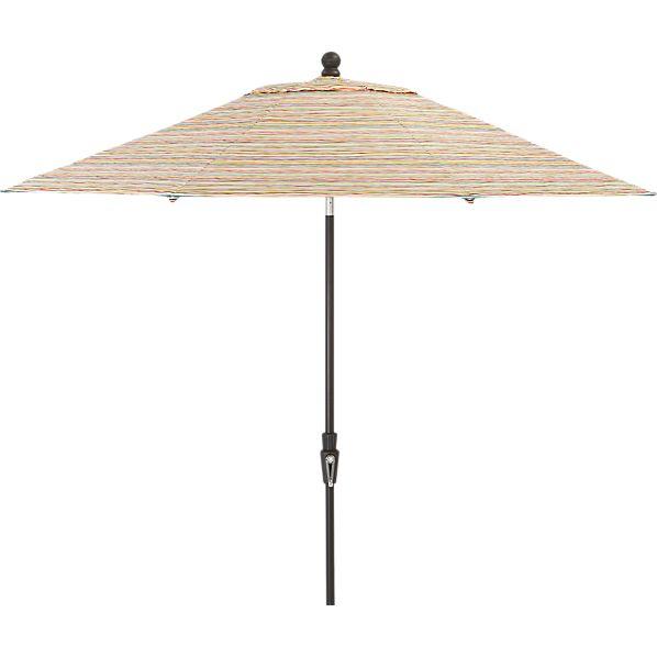 9' Round Handpainted Stripe Umbrella with Tilt Black Frame