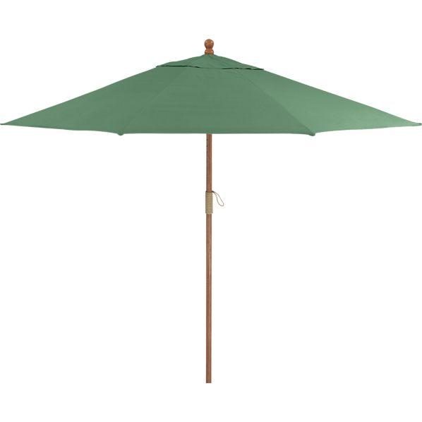 9' Round Sunbrella ® Bottle Green Umbrella with FSC Eucalyptus Frame