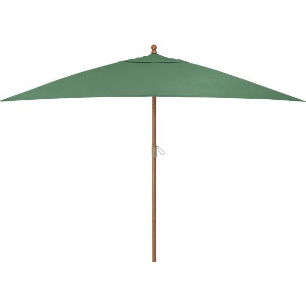 Rectangular Sunbrella ® Bottle Green Umbrella with Eucalyptus Frame