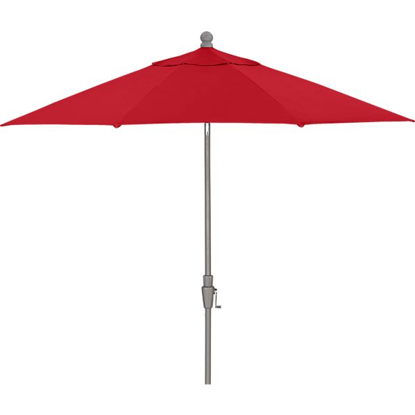 9' Round Sunbrella ® Chili Pepper Umbrella with Silver Frame