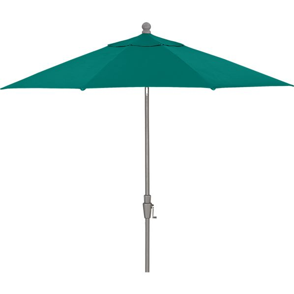 9' Round Sunbrella ® Harbor Blue Umbrella with Silver Frame