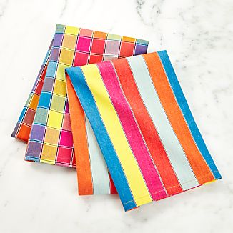 Set of 2 Market Stripe and Check Dish Towels