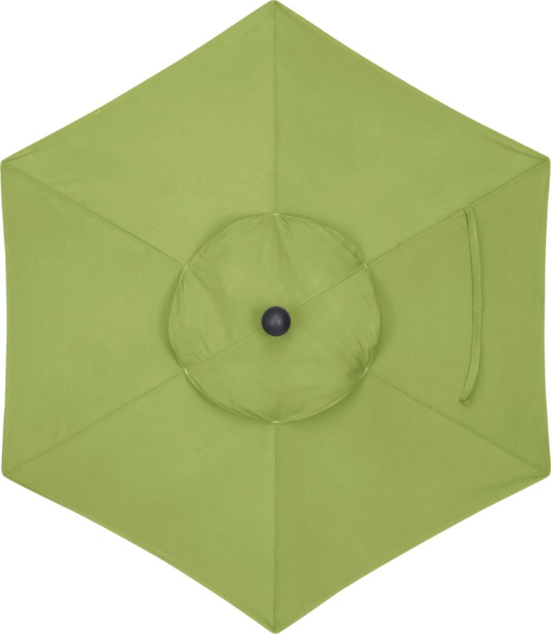 A kiwi green canopy in fade- and mildew-resistant Sunbrella® acrylic blocks out 98% of the sun's rays. Fits our 6' round frames. Frames and stands sold separately.<br /><br /><NEWTAG/><ul><li>Cover: fade- and mildew-resistant Sunbrella acrylic umbrella (fits our 6' round frames; spot clean)</li><li>Frames (sold separately): aluminum tilt and high dining in silver</li><li>Made in USA</li></ul><br />