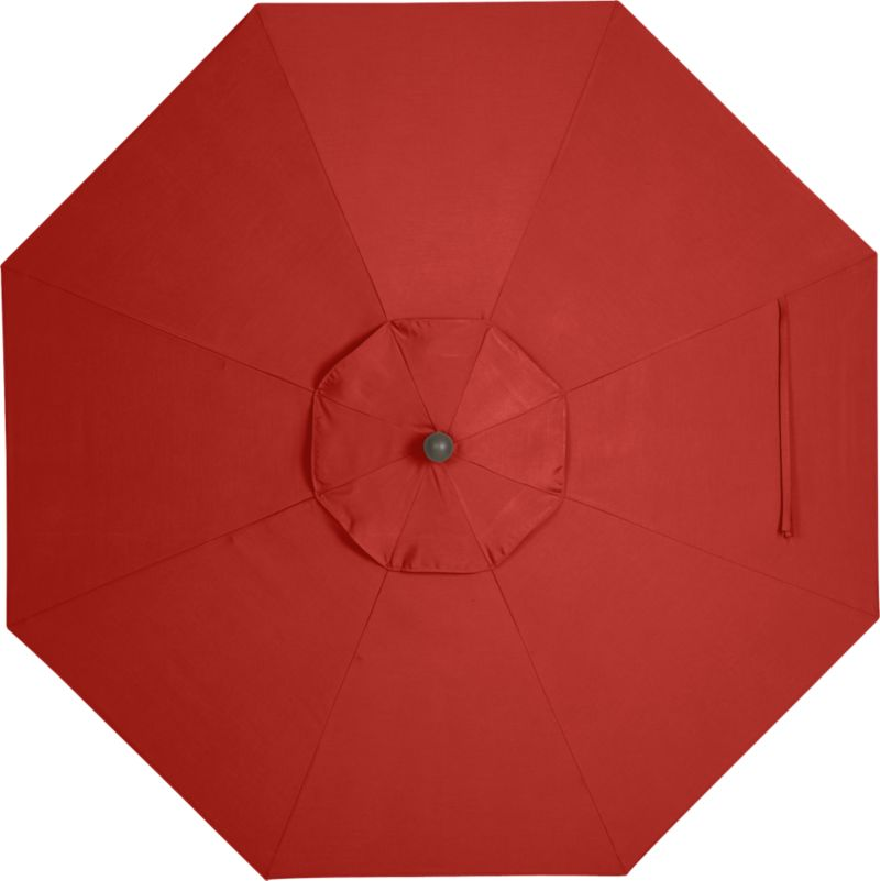 A spicy caliente canopy in fade- and mildew-resistant Sunbrella® acrylic blocks out 98% of the sun's rays. Fits all of our 9' round frames. Frames and stands sold separately.<br /><br /><NEWTAG/><ul><li>Cover: fade- and mildew-resistant Sunbrella acrylic umbrella (fits all 9' round frames; spot clean)</li><li>Frames (sold separately): aluminum tilt with bronze or charcoal finish</li><li>Made in USA</li></ul><br />
